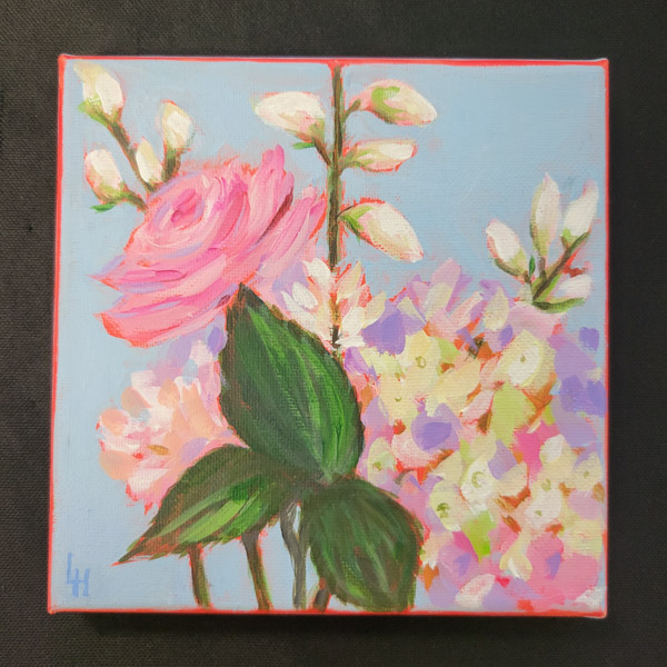 Pink Flower Bunch - 6x6 Fundraiser - Cecil County Arts Council