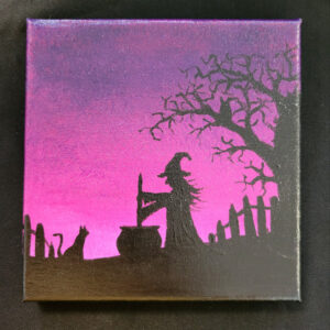 Halloween Witch Silhouette - 6x6 Fundraiser - Cecil County Arts Council